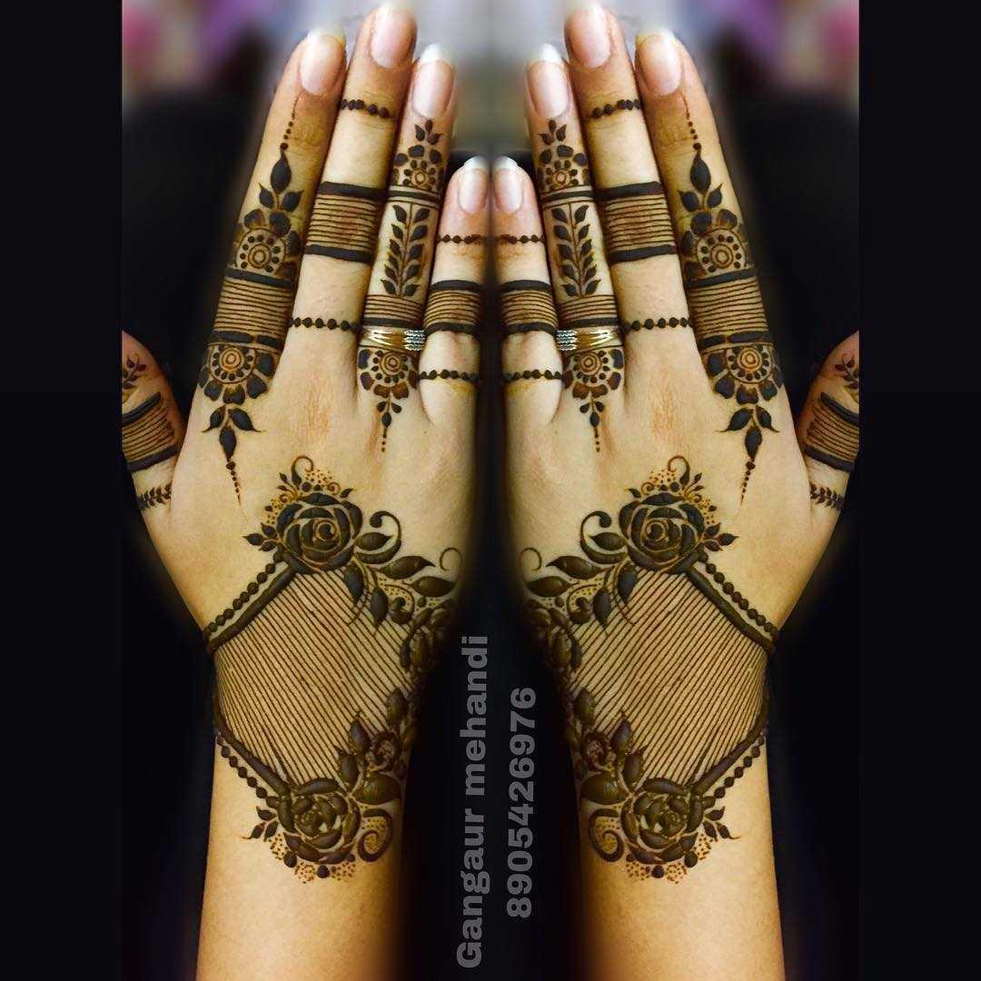 raksha bandan mehndi design floral grids byback hand by gangaur