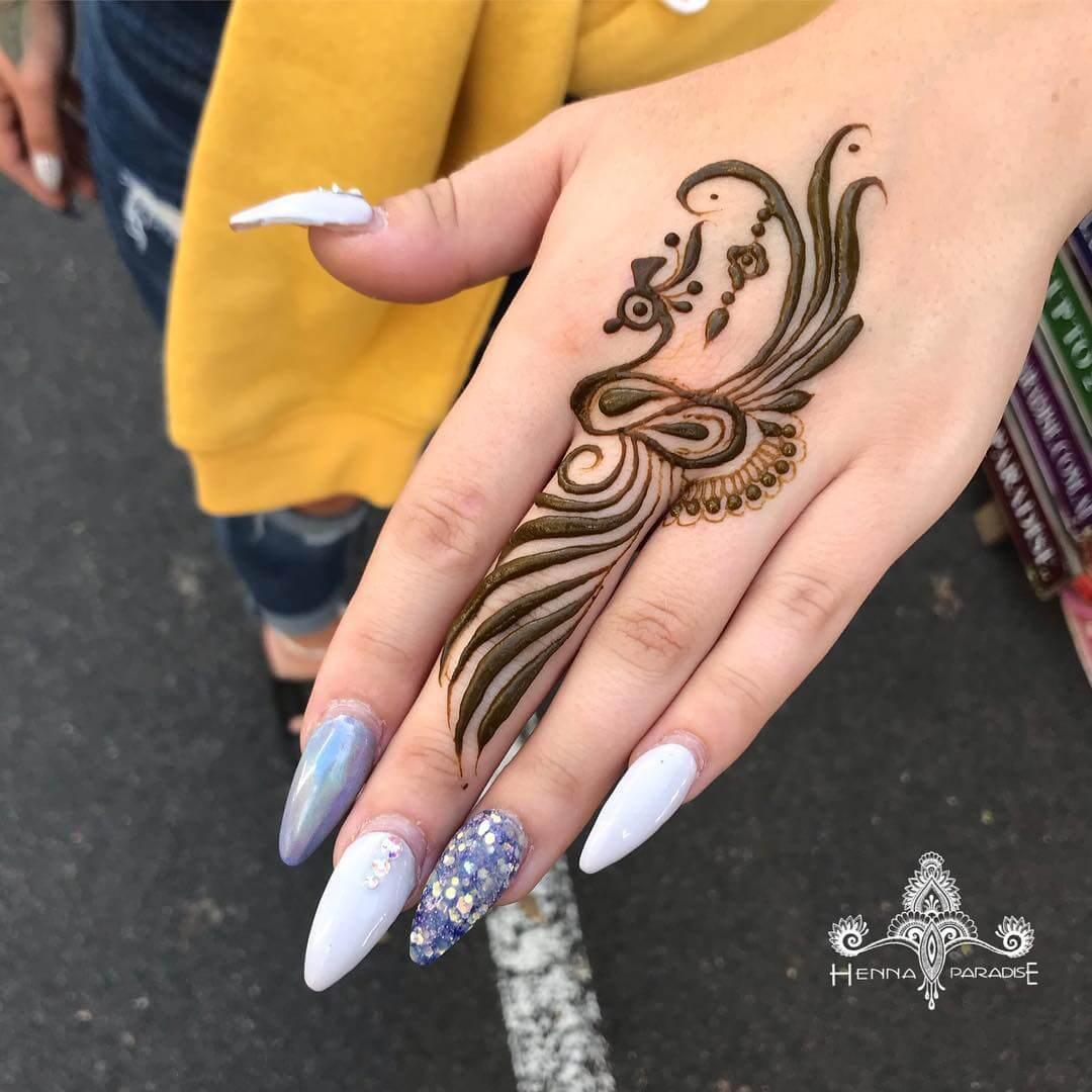 raksha bandan mehndi design peacock one finger by henna paradise