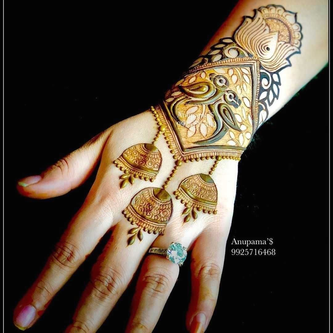 raksha bandan mehndi design back hand jhumkis by anupama
