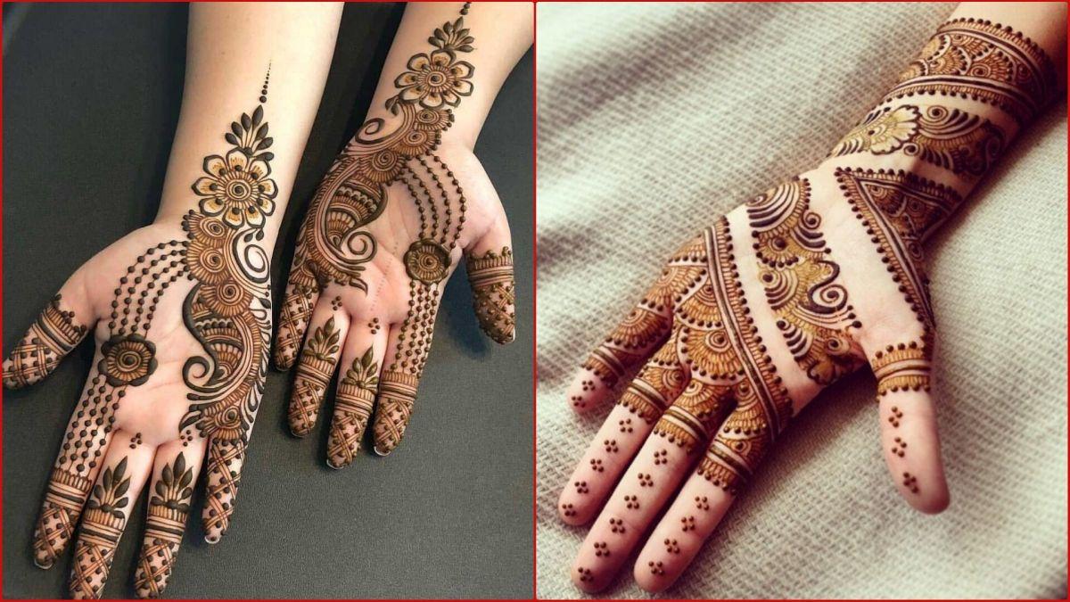 raksha bandan mehndi design jewellery front hand