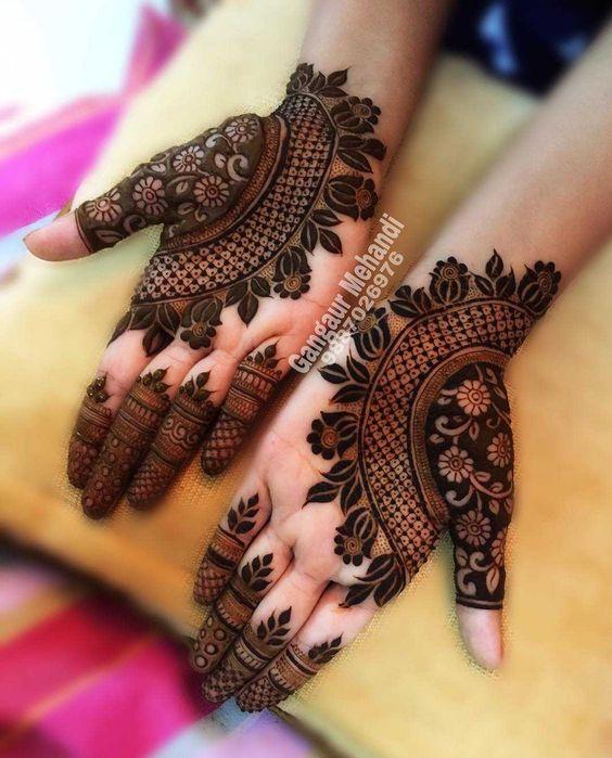 batik mehndi design front hand