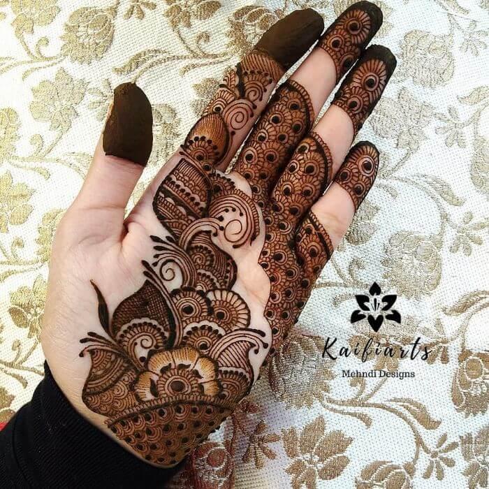 indo arabic mehndi design front hand