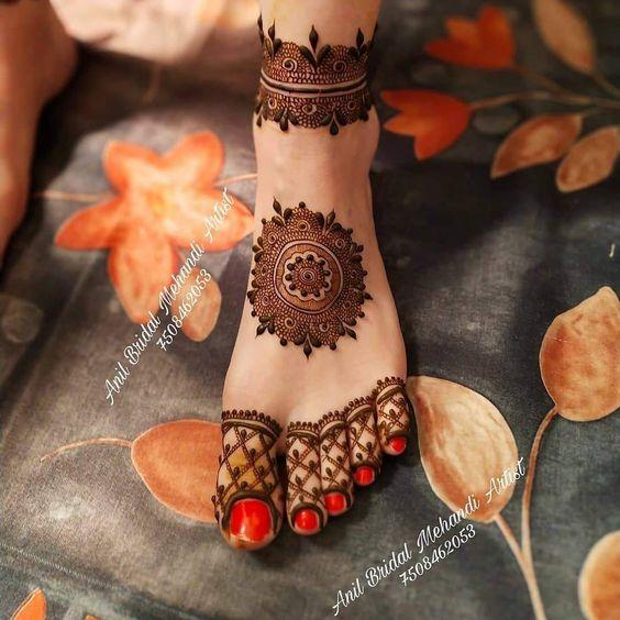 leg mehndi design bridal foot