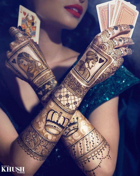 stylish mehndi design king queen bridal mehndi design
