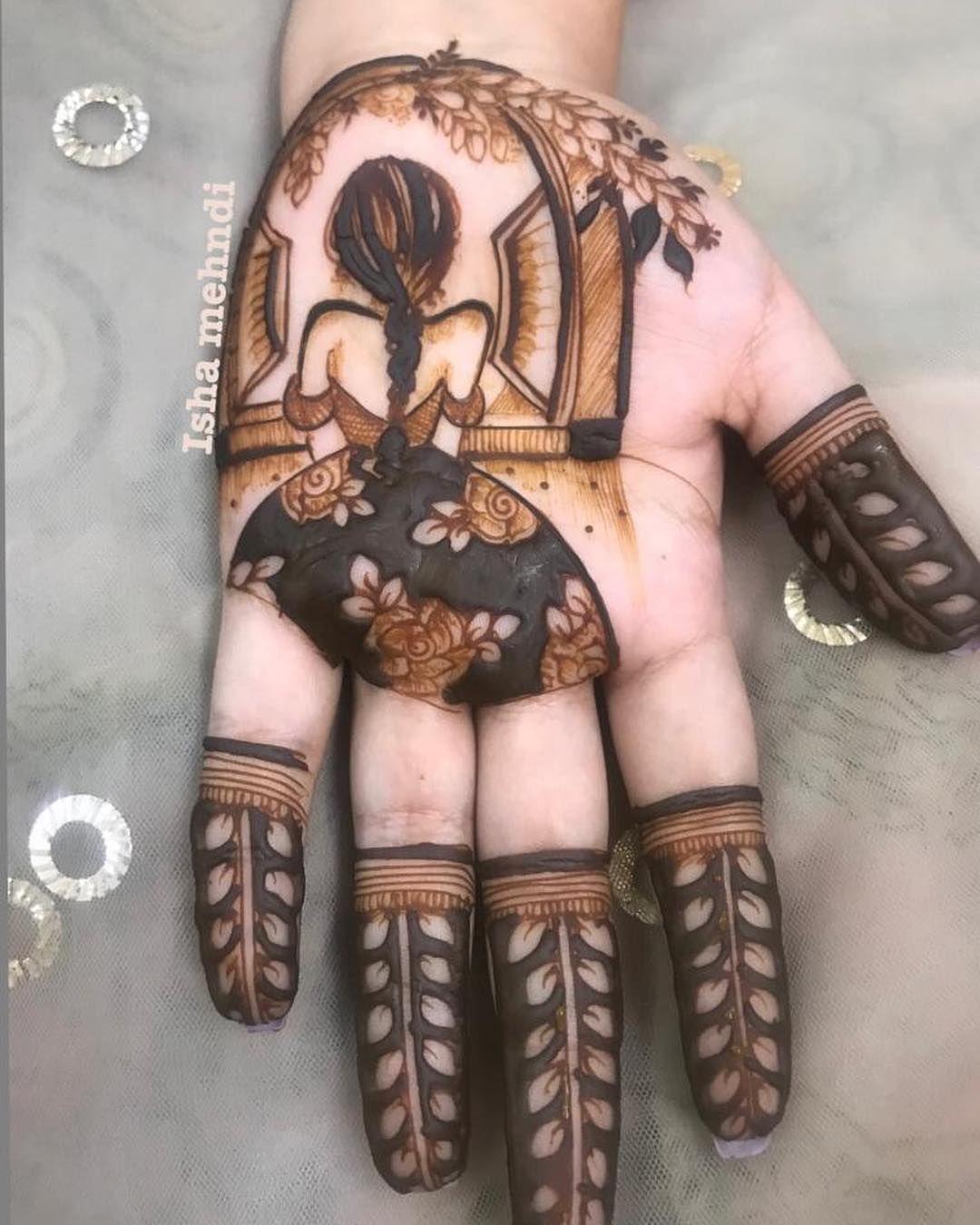 stylish mehndi design waiting girl