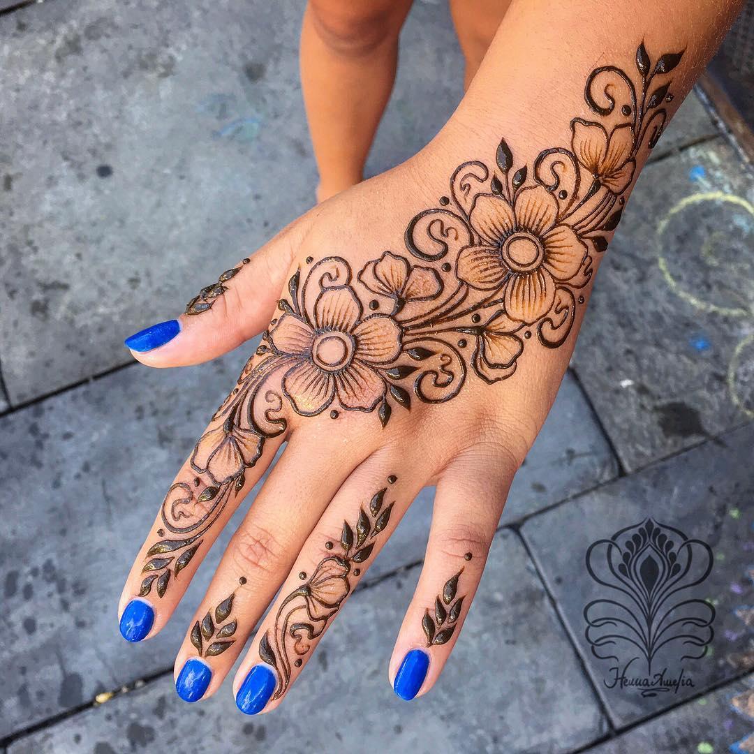 1 easy flower mehndi design for hands