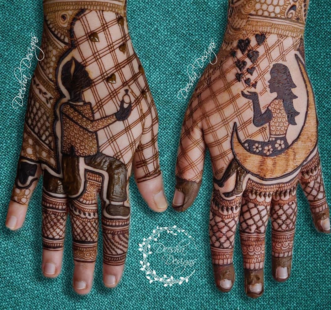 backhand mehndi design in love