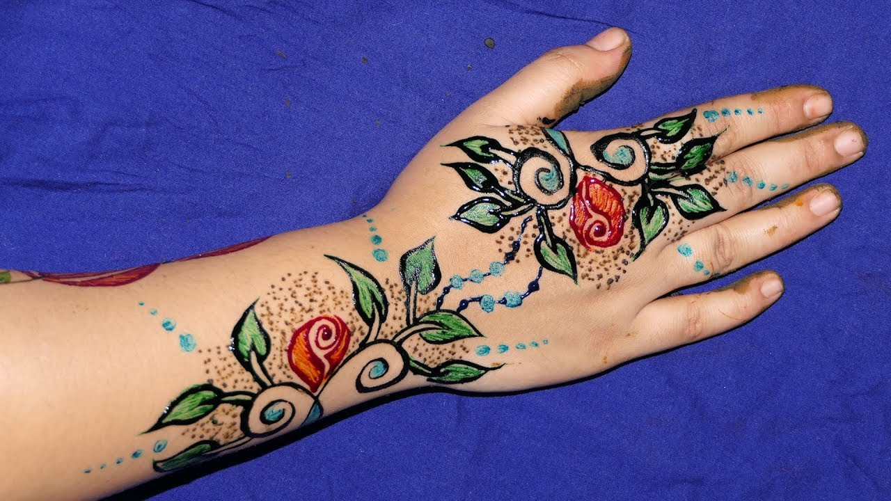 color mehndi design flowers