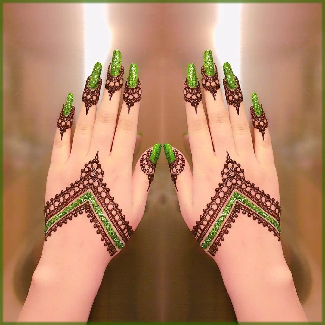 color mehndi design green glitter
