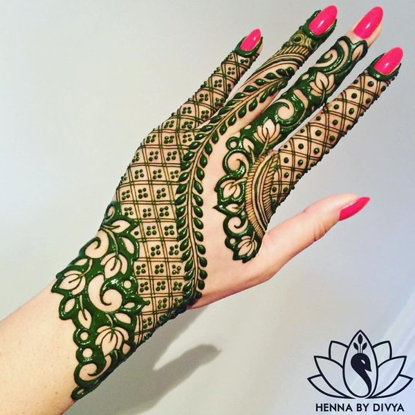 color mehndi design green henna