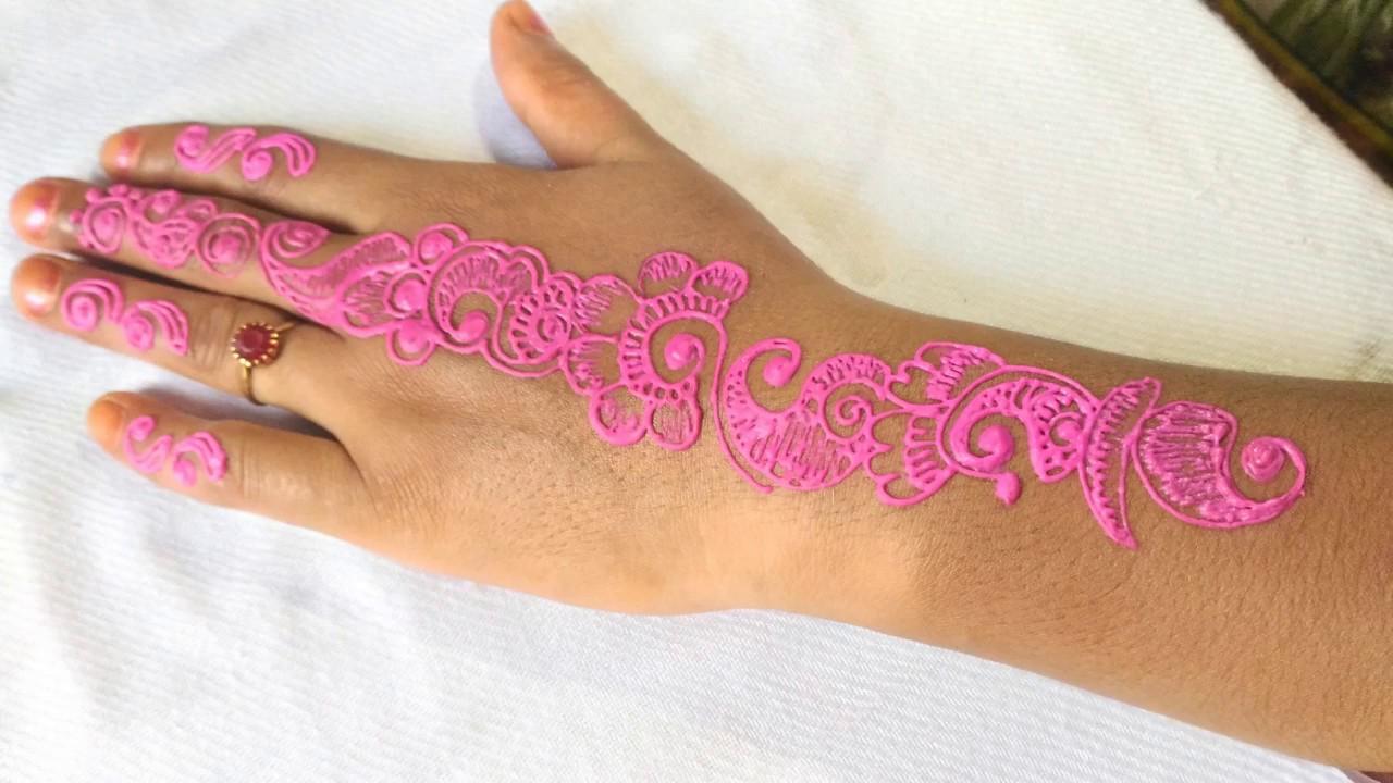 color mehndi design mango floral pink