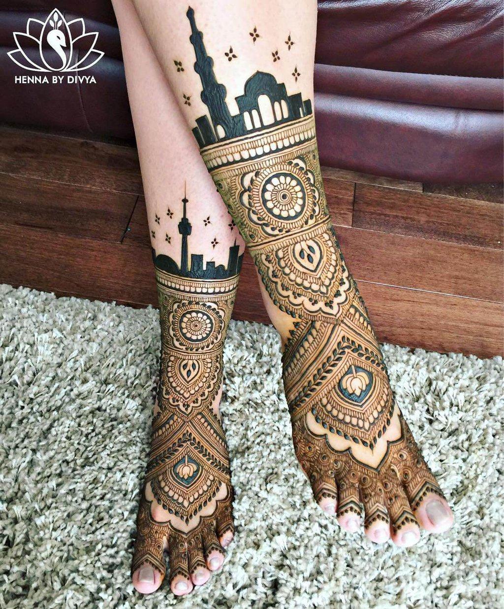 leg mehndi design side for eid