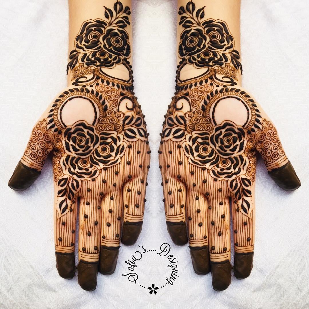 rose mehndi design front hand