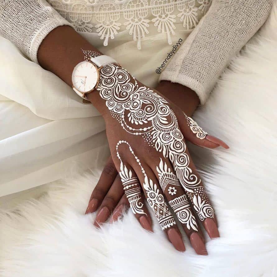 stylish mehndi design white floral