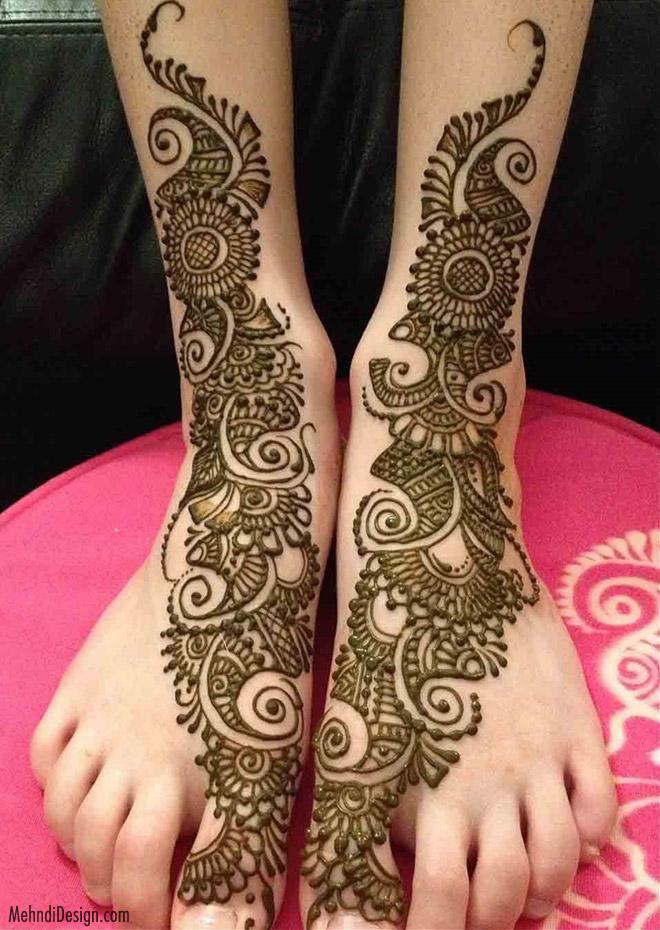 leg mehndi design in arabic style