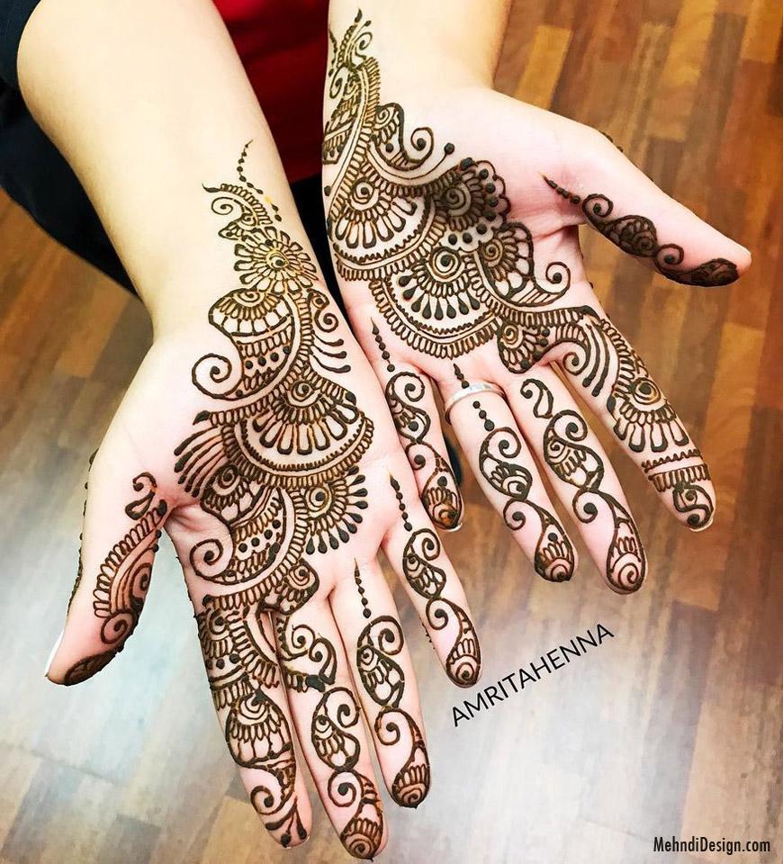 arabic mehndi design hand simple by amrita henna