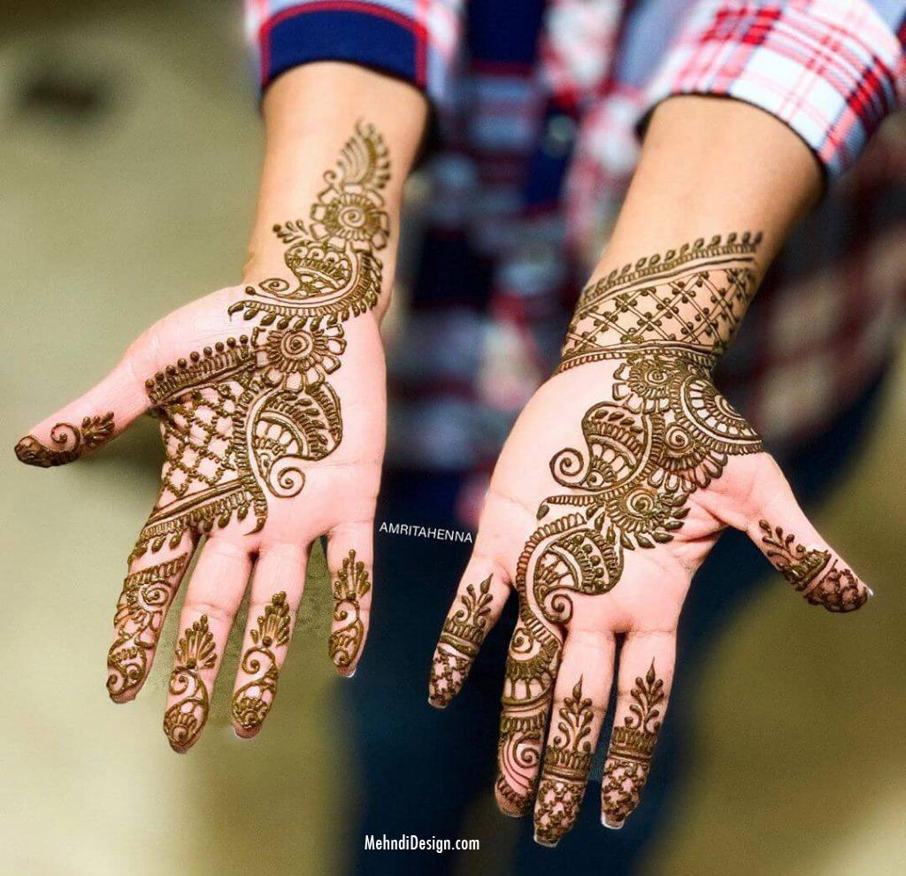 arabic mehndi design for palm by amritahenna