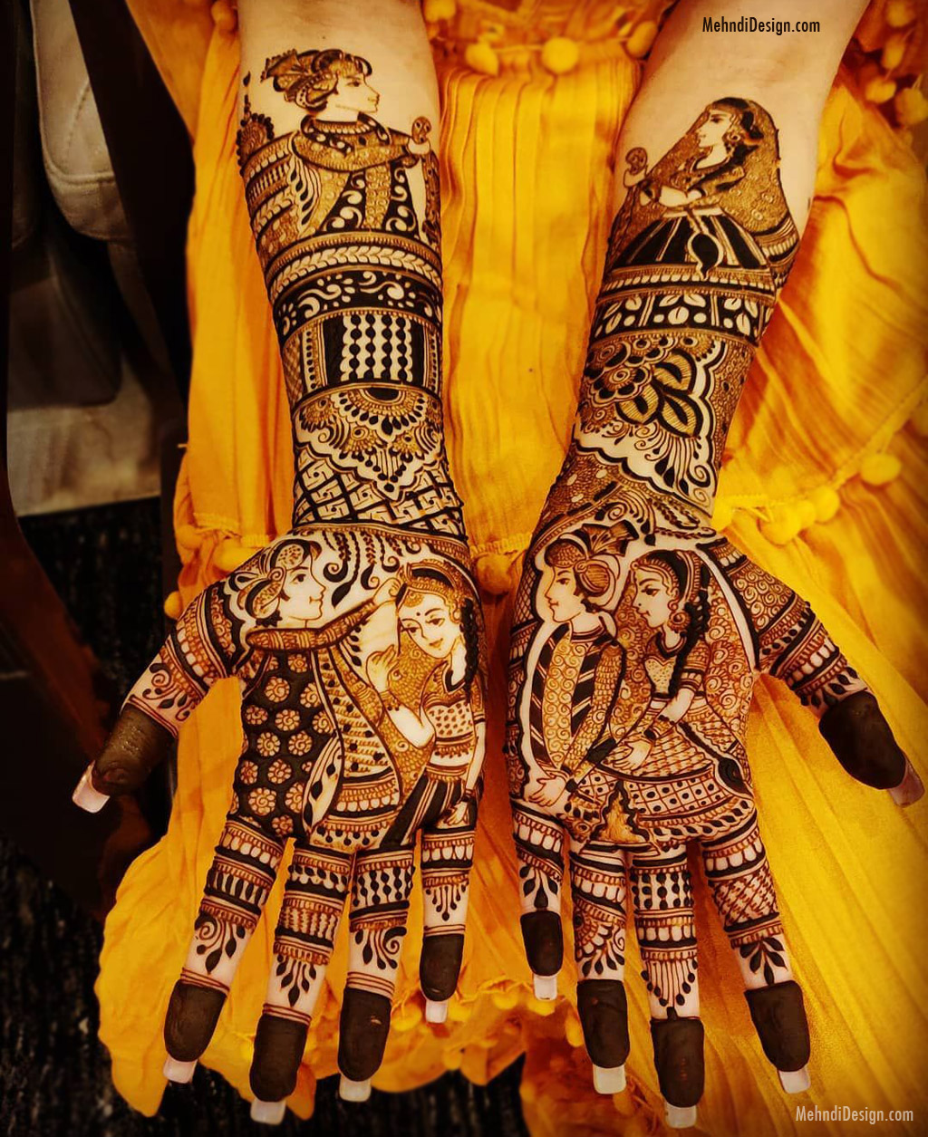 bridal mehndi design for back hand and palms