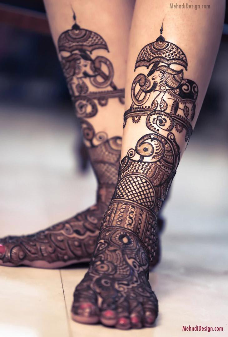 bridal mehndi design for leg