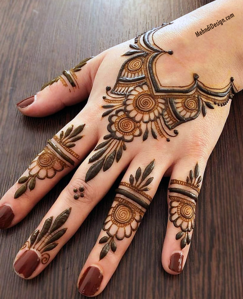 easy simple mehndi design for front hand and finger
