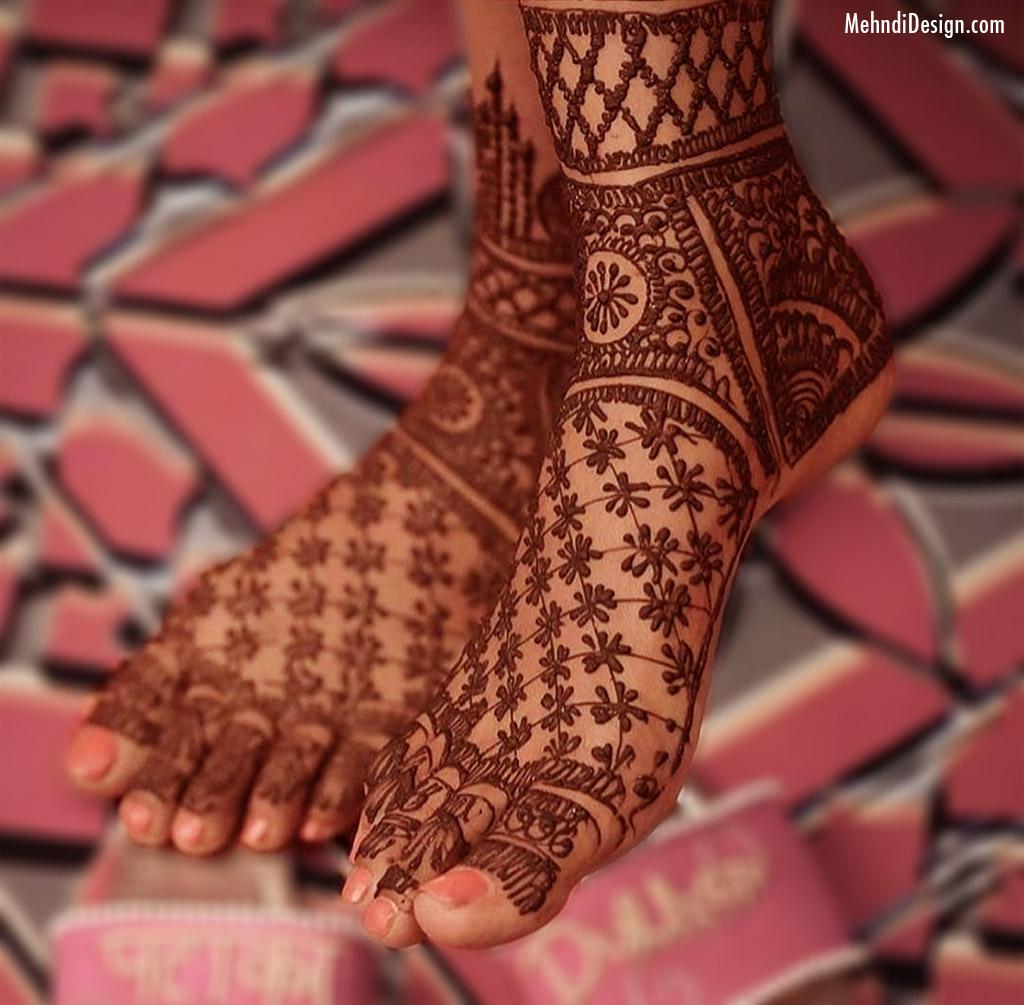 mehndi design for bride legs