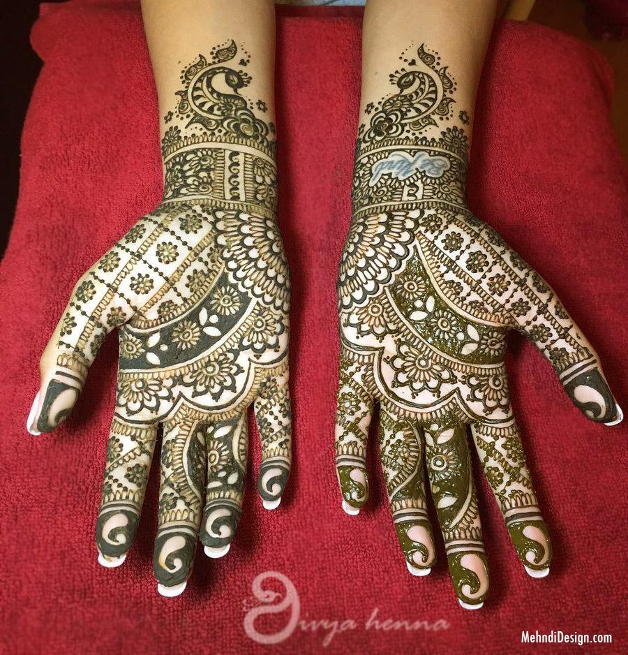 simple full hand mehndi design by divya