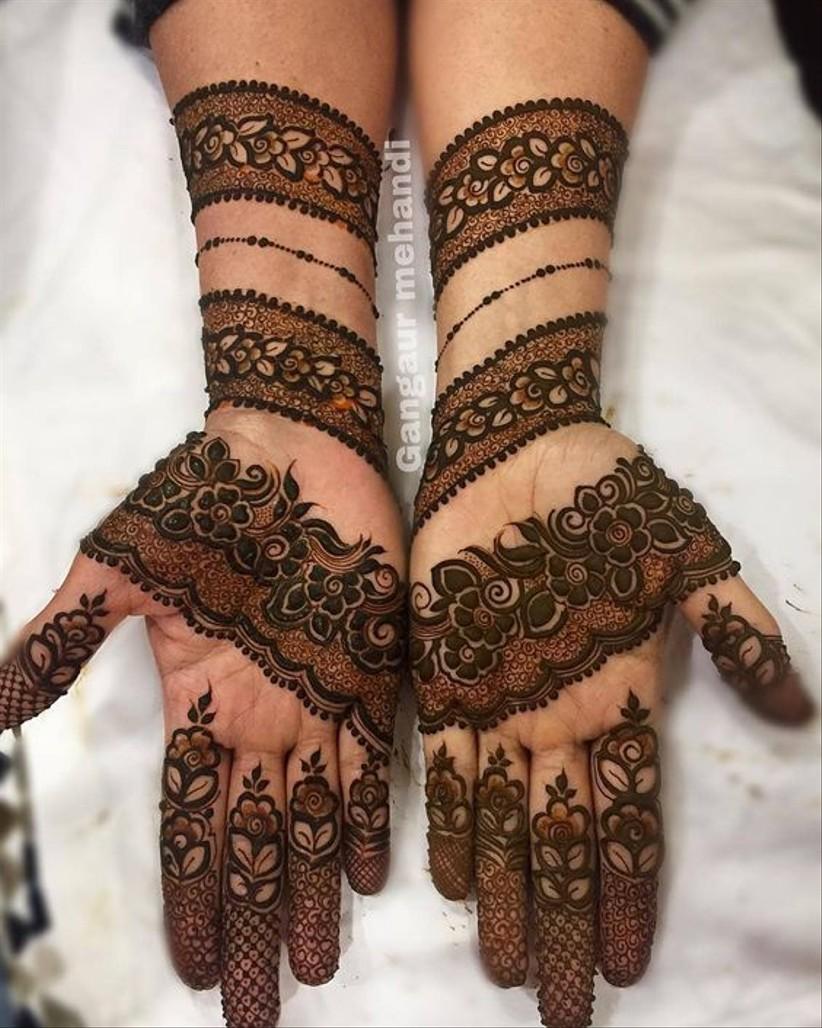 5 bangle mehndi design bridal